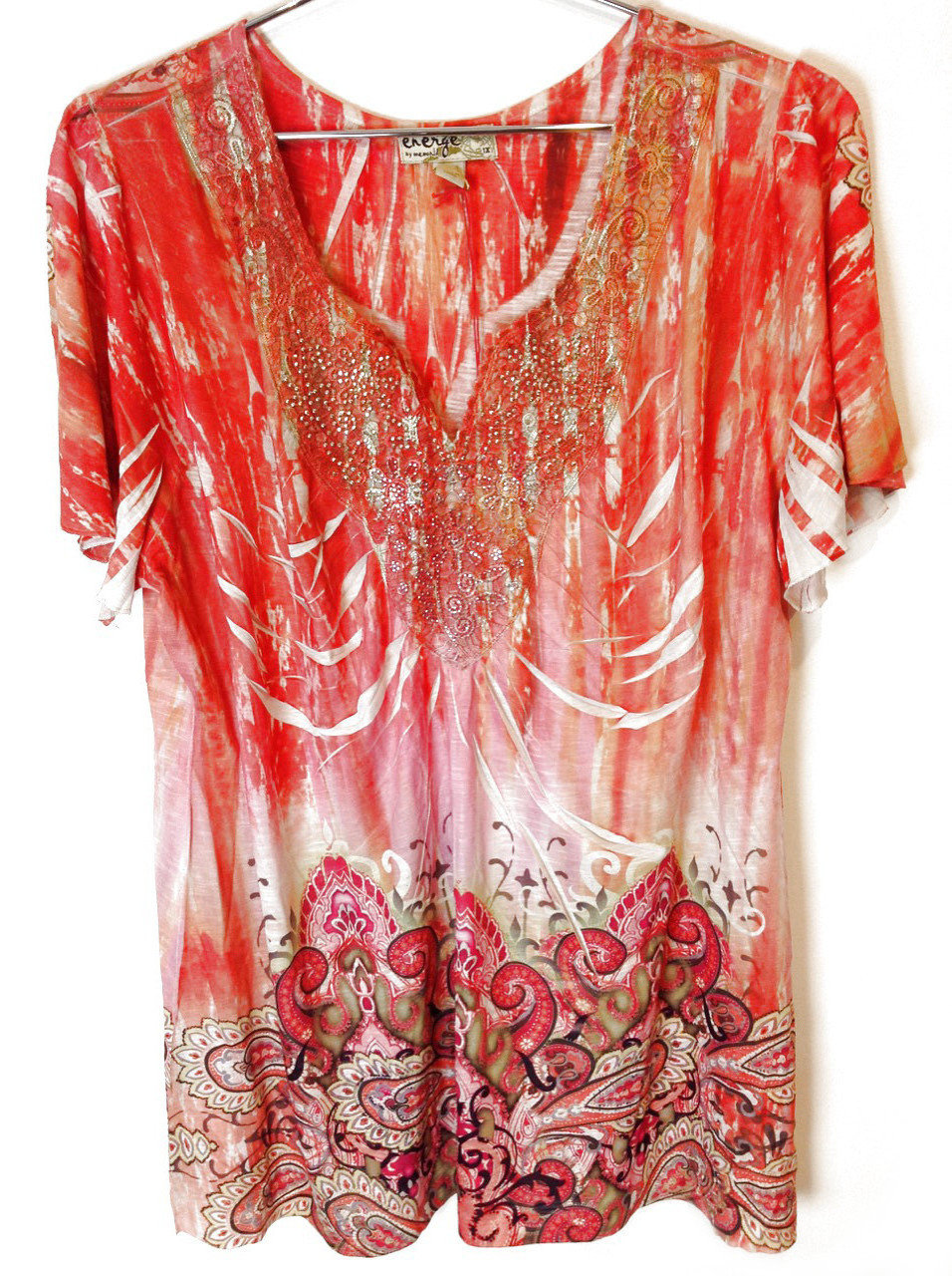 New-One-World-Womens-Plus-Size-Printed-Blouse-Flutter-Sleeve-Embellished-Top-44 thumbnail 2