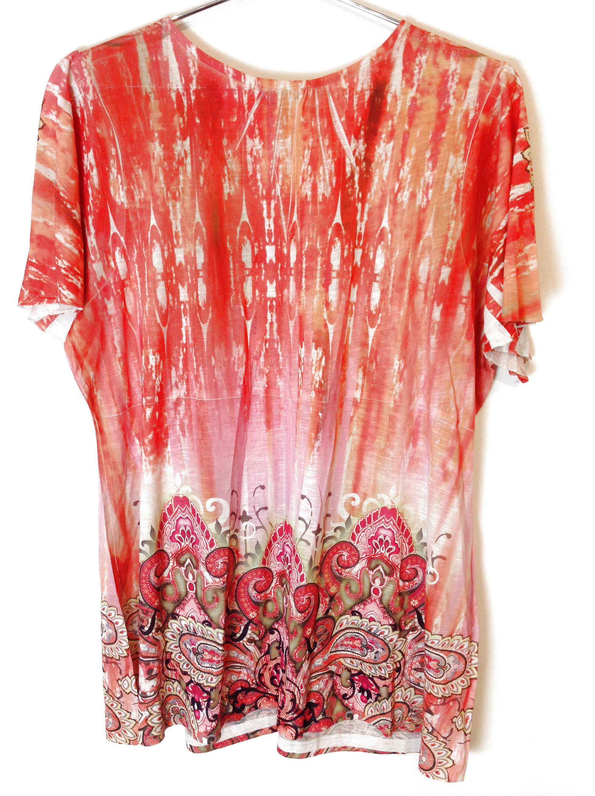 New-One-World-Womens-Plus-Size-Printed-Blouse-Flutter-Sleeve-Embellished-Top-44 thumbnail 3