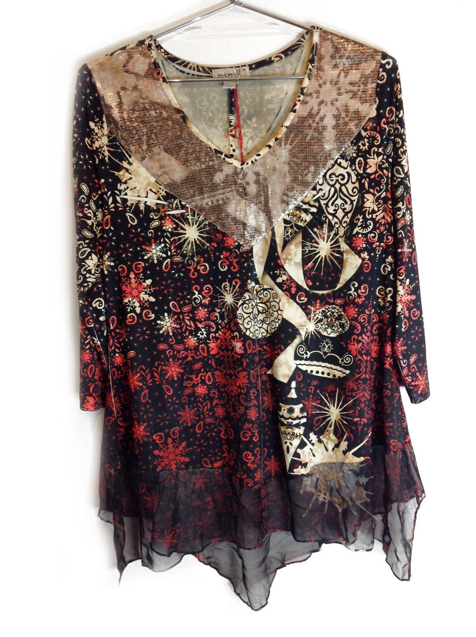 New-One-World-Womens-3-4-Sleeve-Printed-Blouse-Sequence-Tunic-Top-Plus-Size-45 thumbnail 2