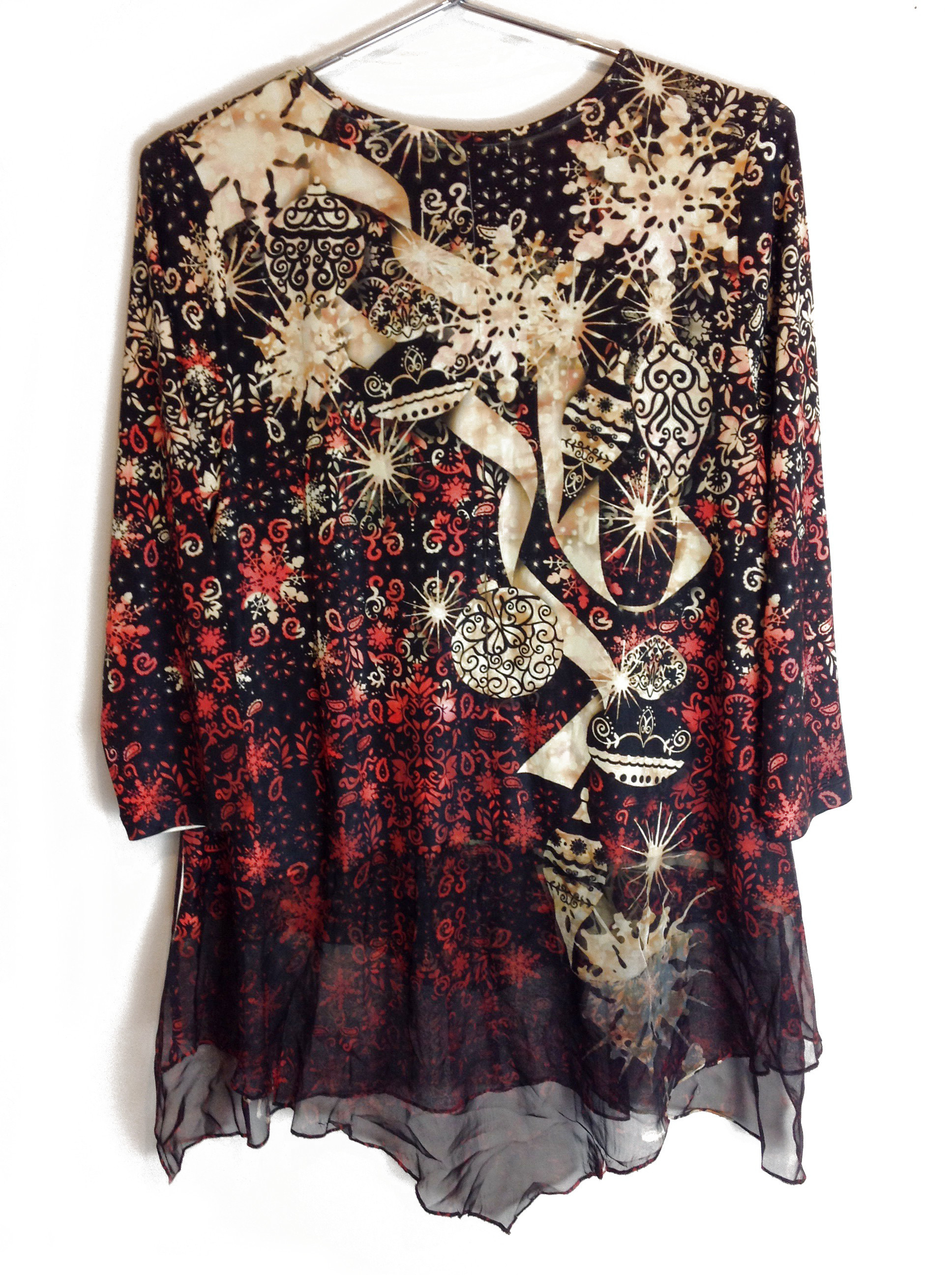 New-One-World-Womens-3-4-Sleeve-Printed-Blouse-Sequence-Tunic-Top-Plus-Size-45 thumbnail 3