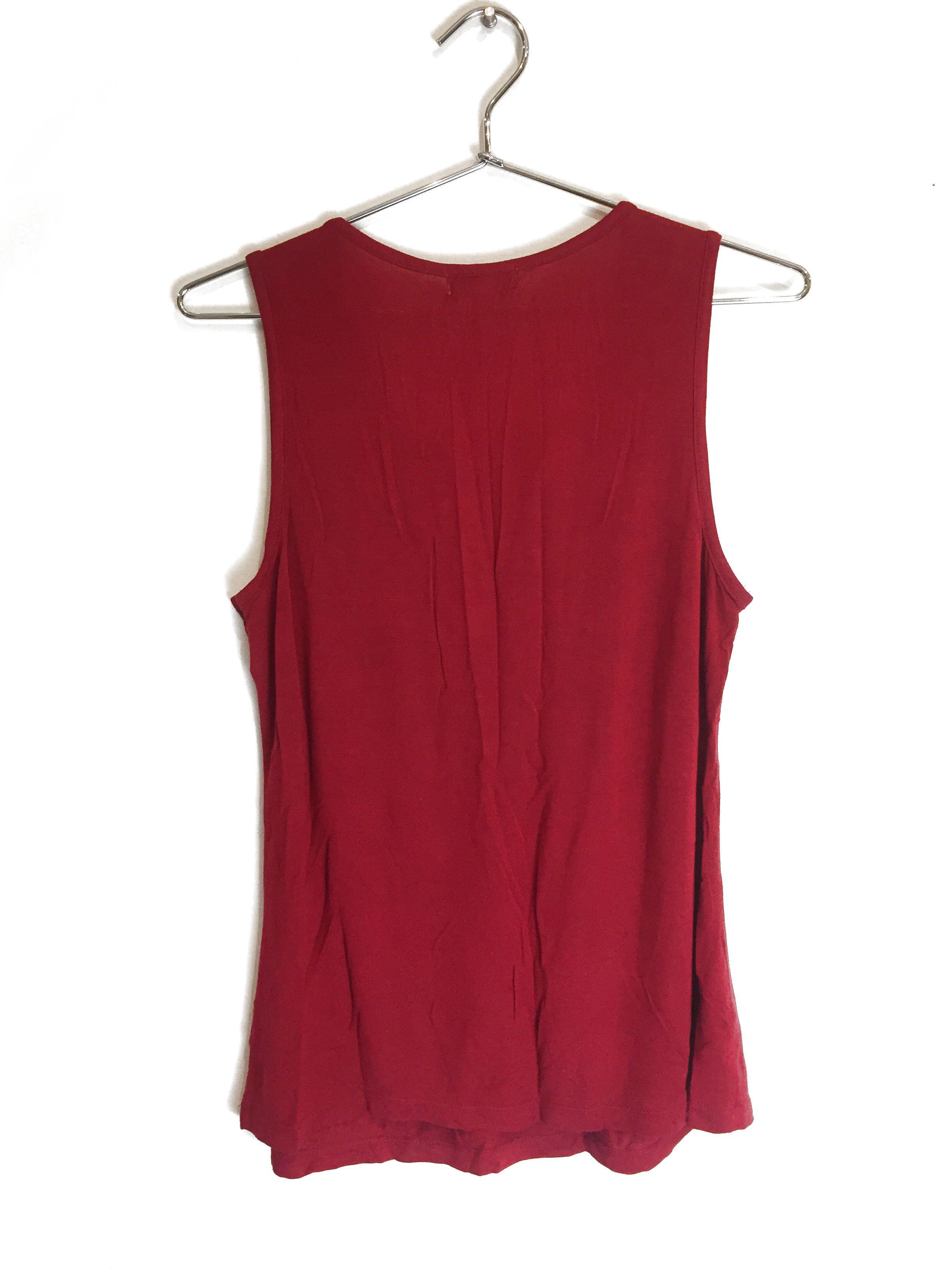 New One World Womens Sleeveless Crochet Tank Top Blouse Dark Red Plus Size $45