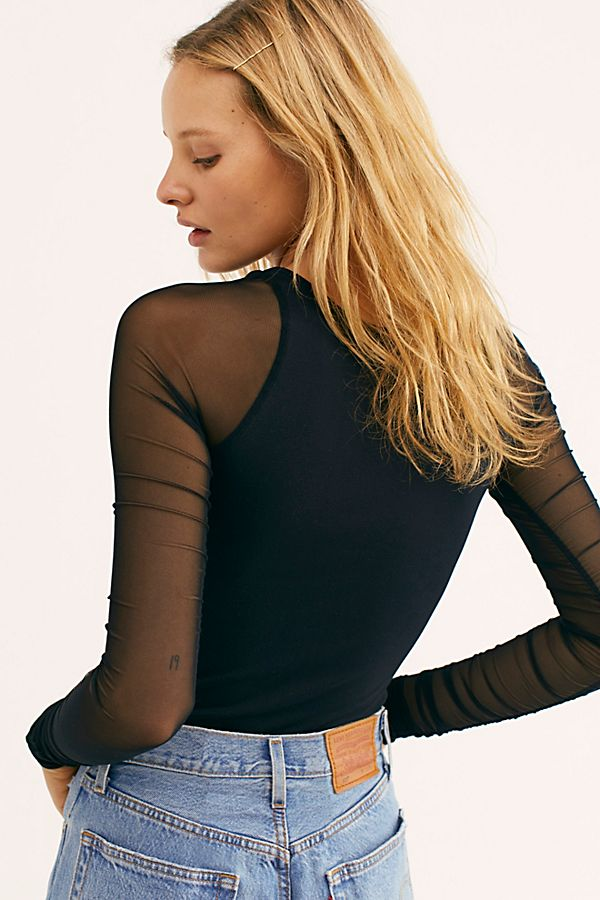New-Free-People-Womens-Sheer-Scrunch-Long-Sleeve-Seamless-Top-Multicolors-48 thumbnail 5