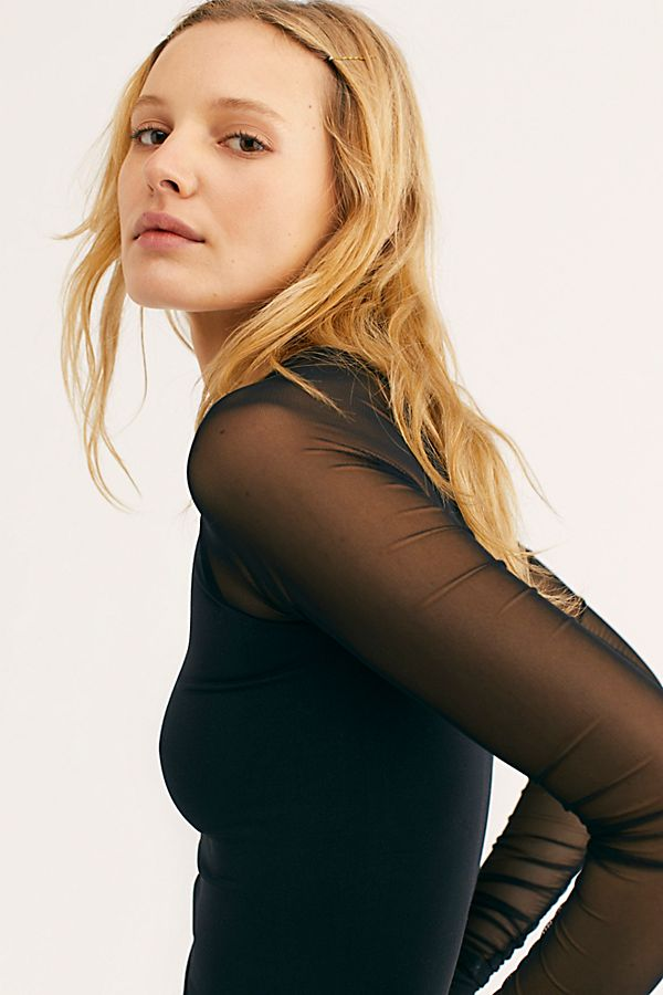 New-Free-People-Womens-Sheer-Scrunch-Long-Sleeve-Seamless-Top-Multicolors-48 thumbnail 6