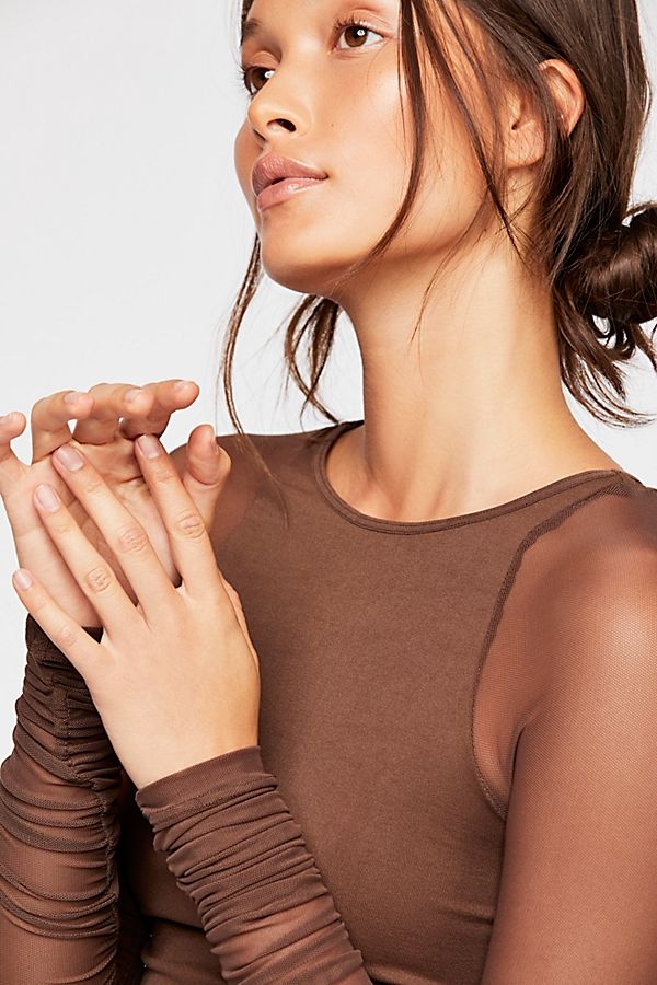 New-Free-People-Womens-Sheer-Scrunch-Long-Sleeve-Seamless-Top-Multicolors-48 thumbnail 9