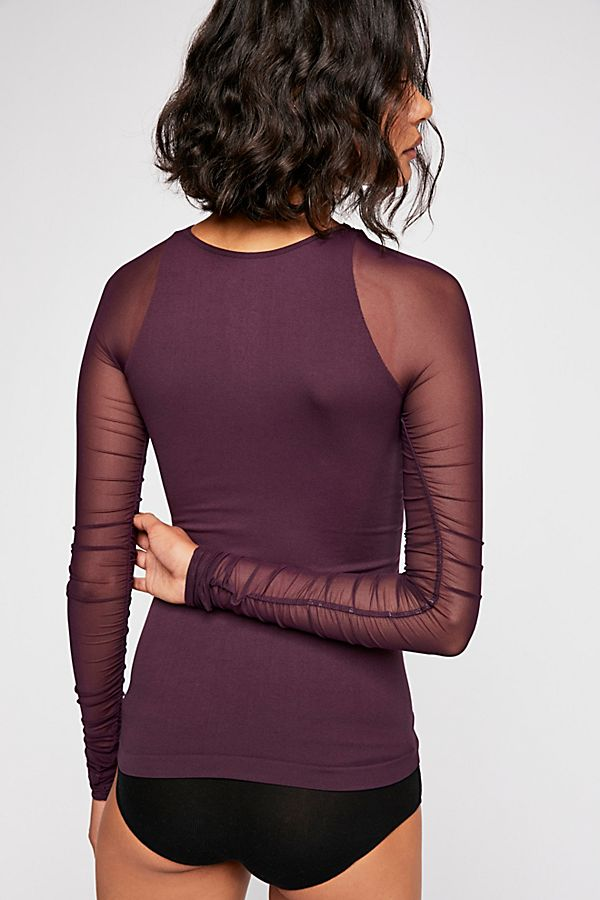 New-Free-People-Womens-Sheer-Scrunch-Long-Sleeve-Seamless-Top-Multicolors-48 thumbnail 18