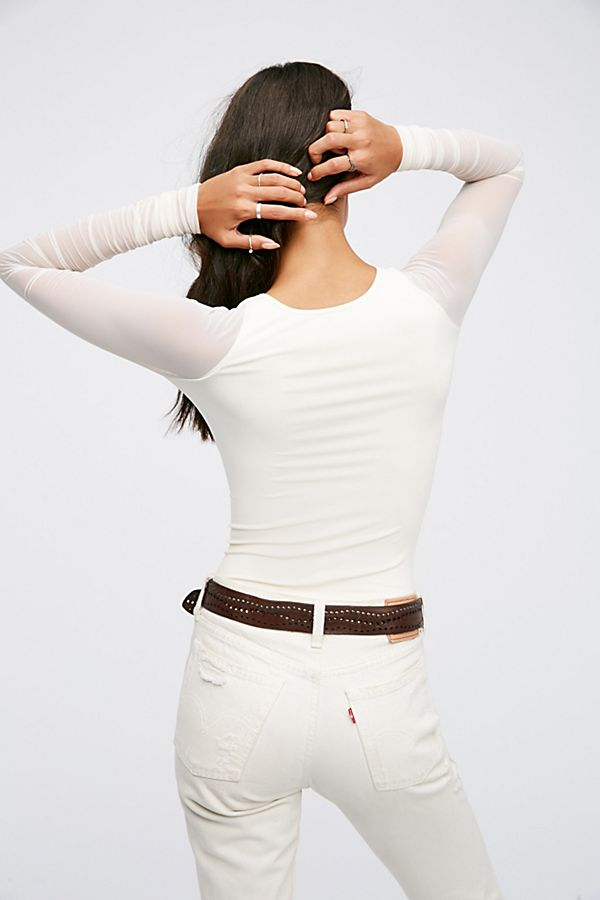 New-Free-People-Womens-Sheer-Scrunch-Long-Sleeve-Seamless-Top-Multicolors-48 thumbnail 21
