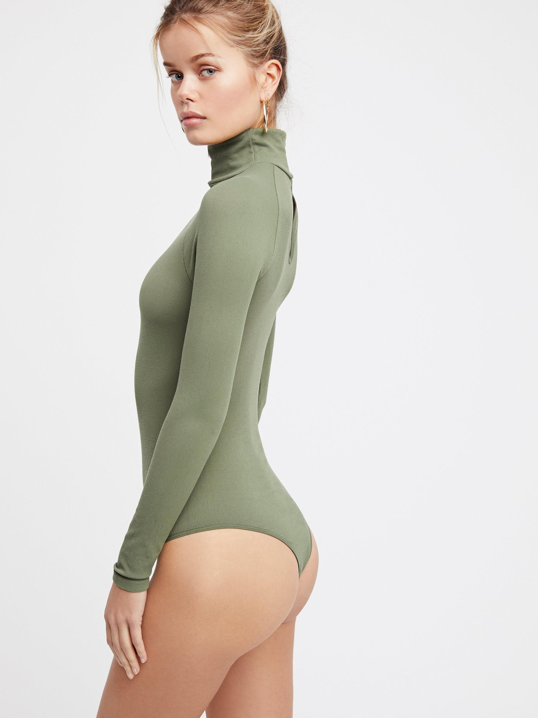 New-Free-People-Womens-Ribbed-Long-Sleeve-Seamless-Turtleneck-Bodysuit-Top-48 thumbnail 55
