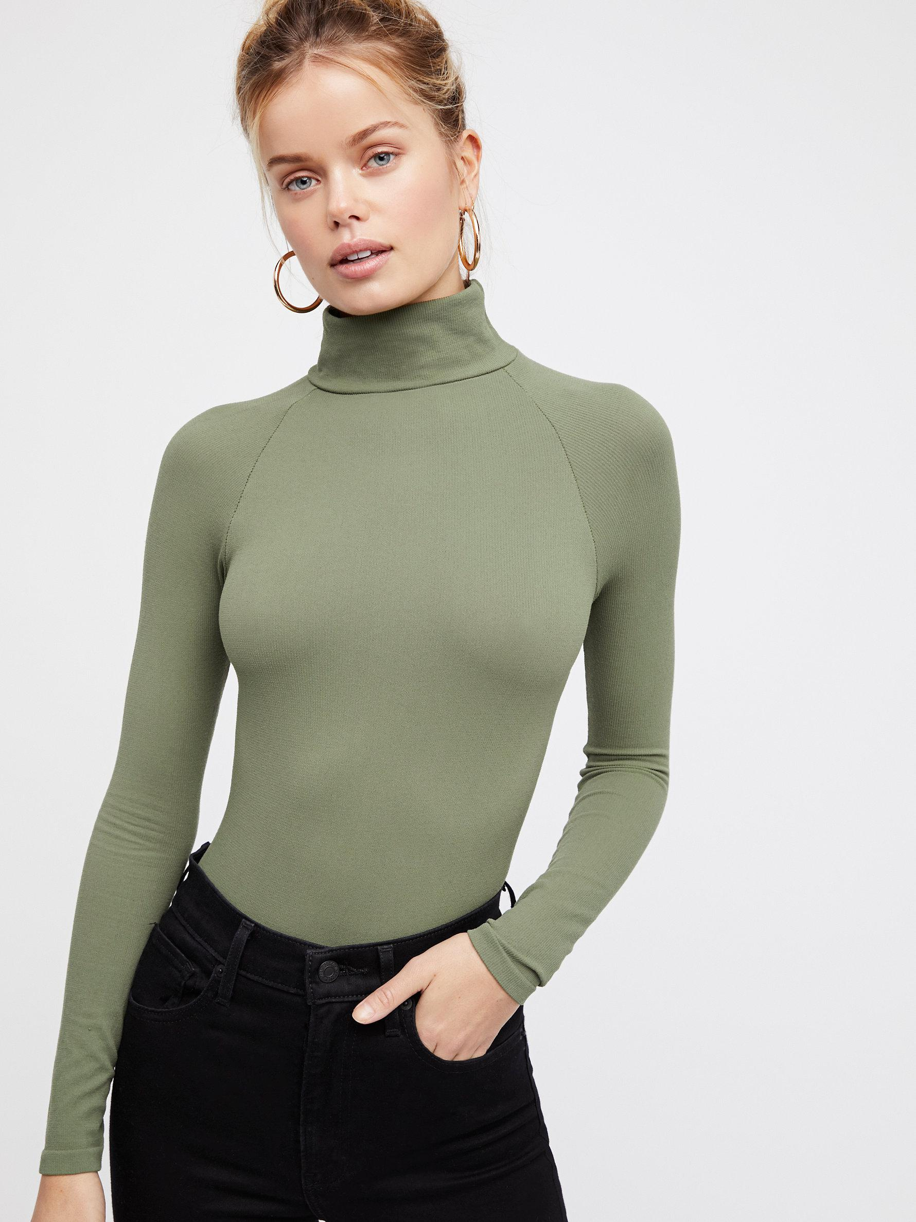New-Free-People-Womens-Ribbed-Long-Sleeve-Seamless-Turtleneck-Bodysuit-Top-48 thumbnail 56