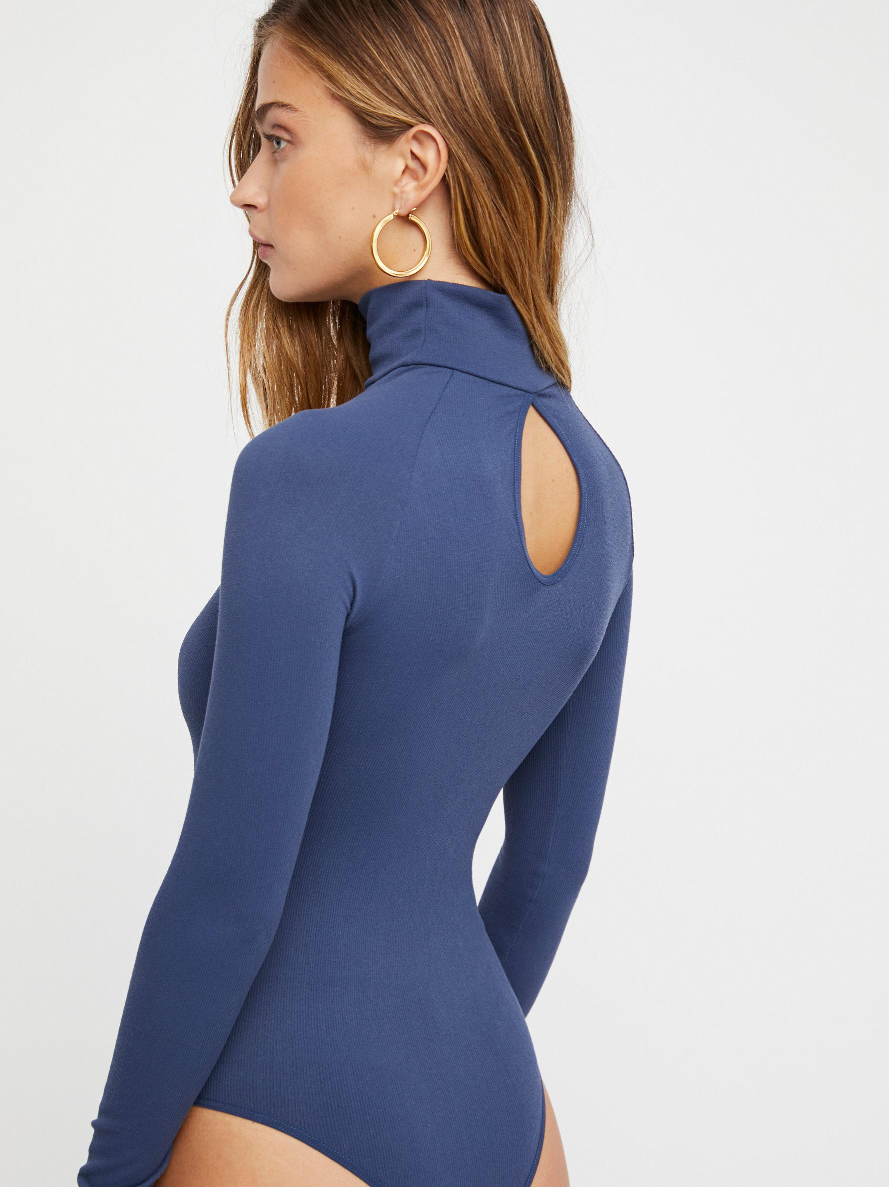 New-Free-People-Womens-Ribbed-Long-Sleeve-Seamless-Turtleneck-Bodysuit-Top-48 thumbnail 52