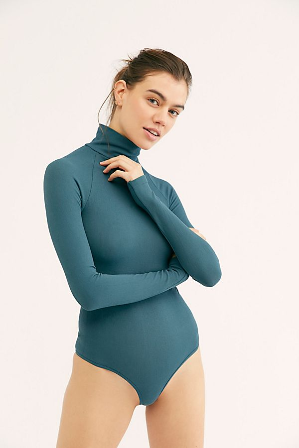 New-Free-People-Womens-Ribbed-Long-Sleeve-Seamless-Turtleneck-Bodysuit-Top-48 thumbnail 45