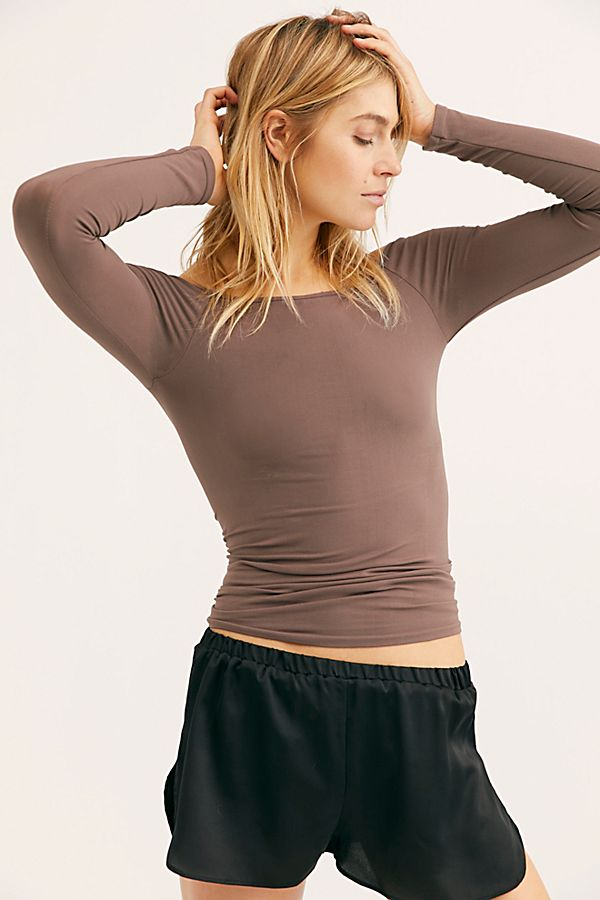 New-Free-People-Womens-Seamless-Long-Sleeve-Off-The-Shoulder-Solid-Top-38 thumbnail 17