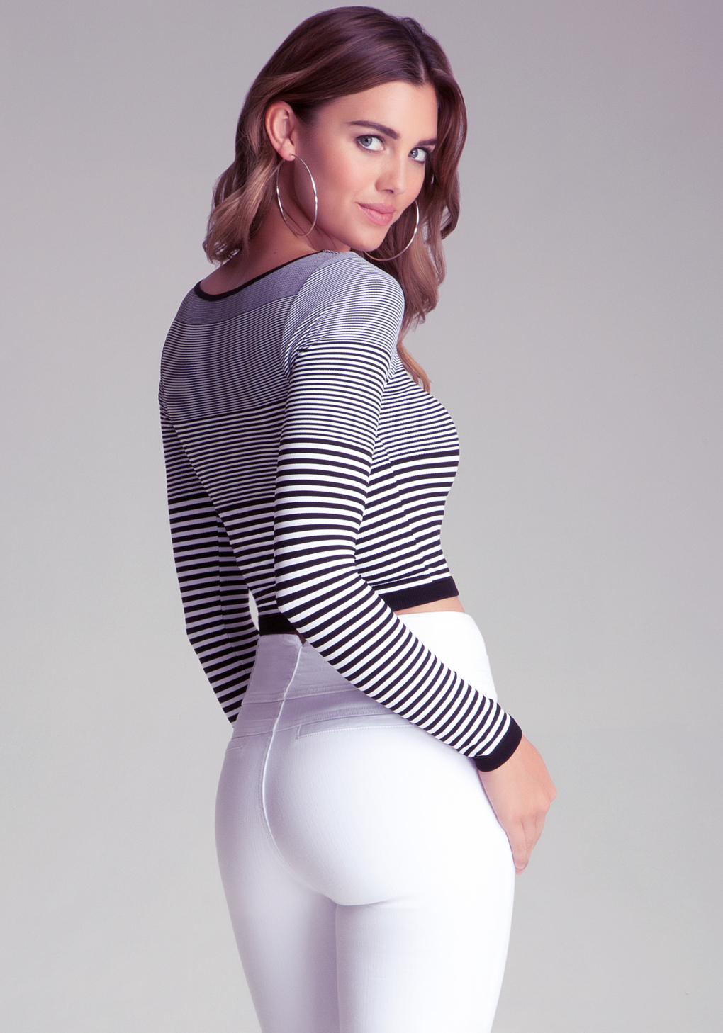 New Free People Seamless Stretchy Long Sleeve Black /& White Striped Crop Top $48