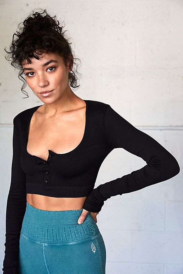 New Free People Womens Salutation Layering Long Sleeve Top By Fp Movement $68n