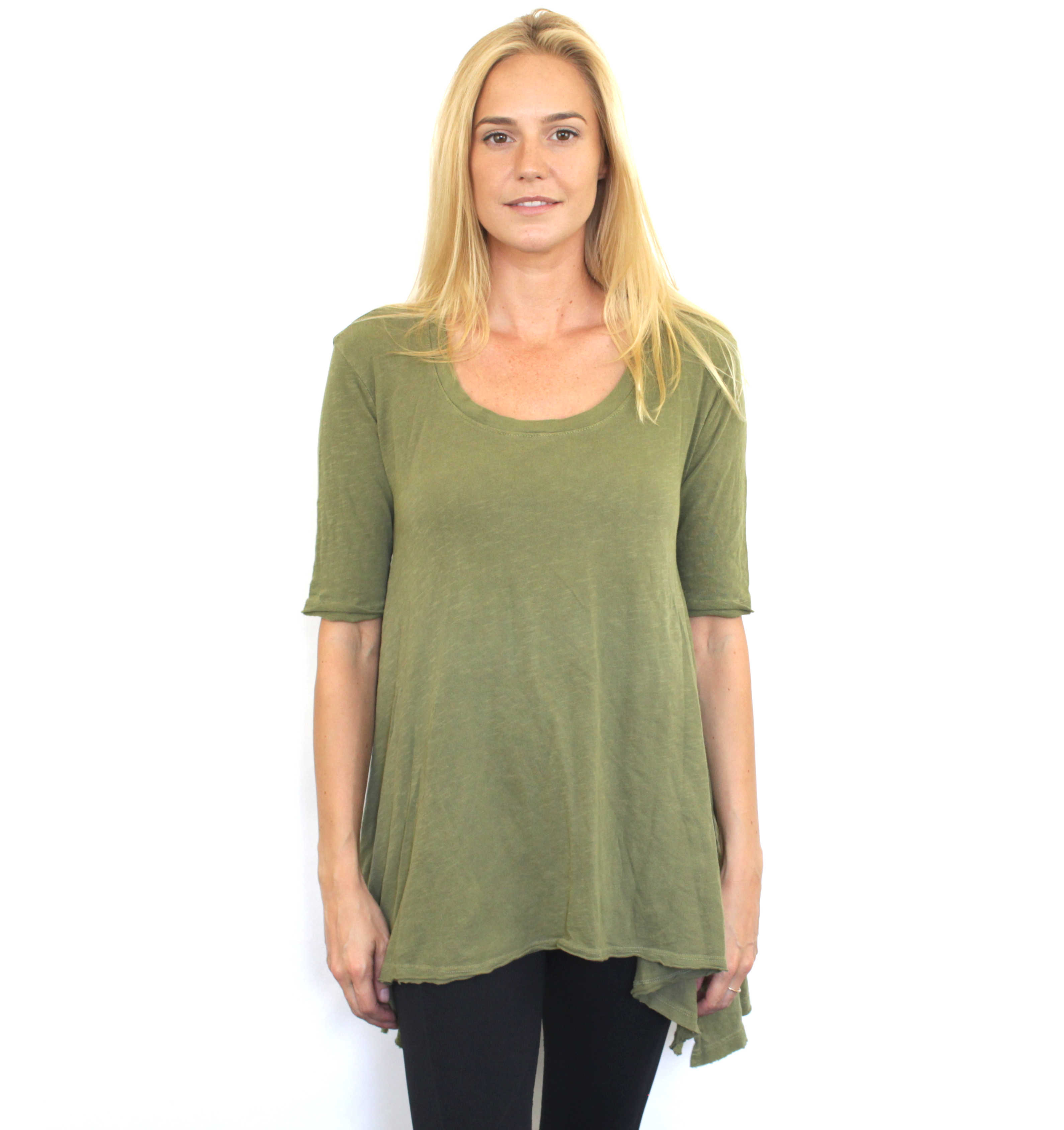 New With Tags Free People Womens Olive Green Melrose Swing Tee Cotton Top $68