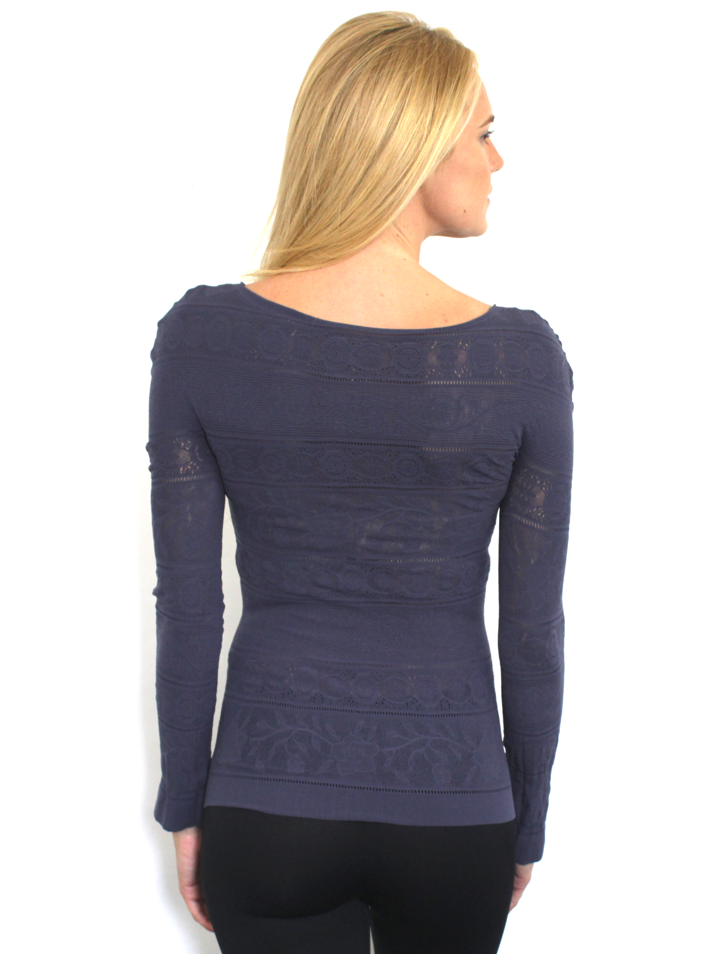 New Free People Womens Seamless Long Sleeve V Neck Skinny Top Navy Xs-L $68