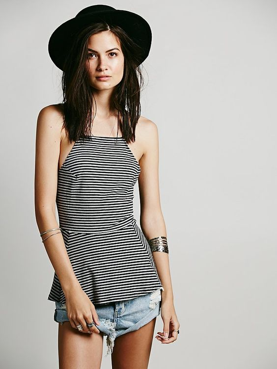New-Free-People-Womens-Striped-Tabby-Cat-Fit-amp-Flare-Tank-Cami-Peplum-Top-30 thumbnail 3