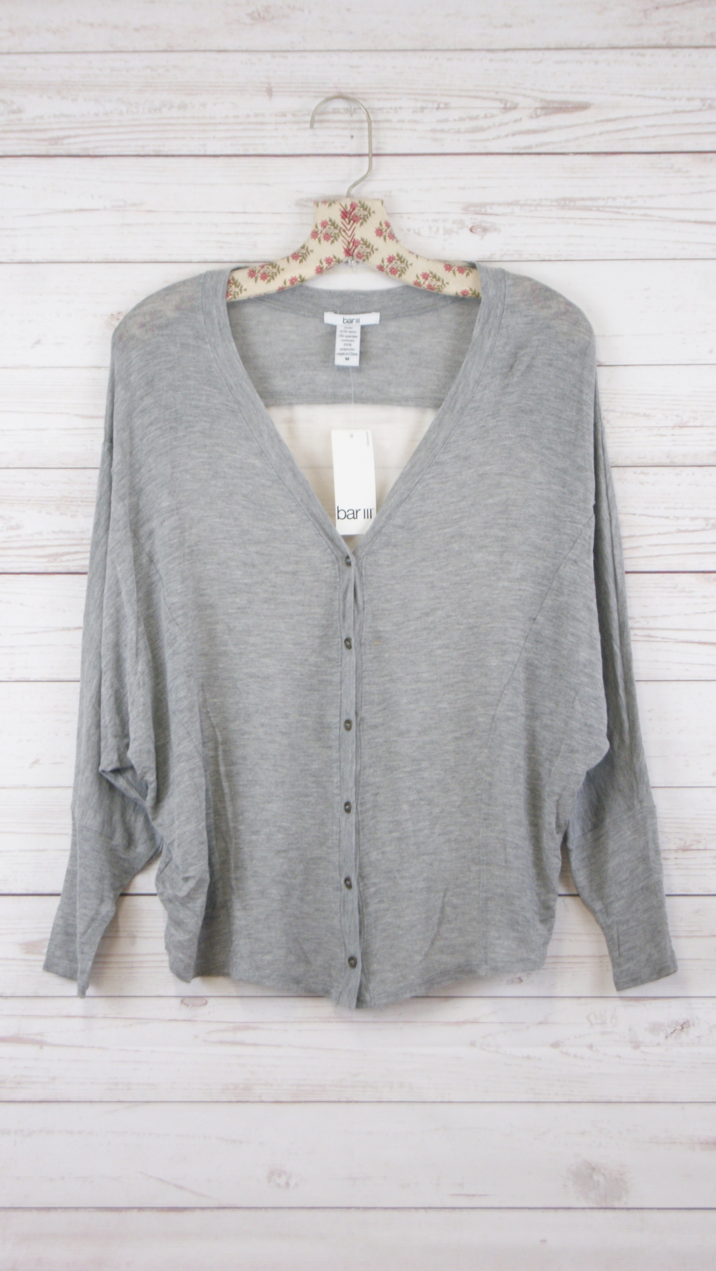 New-Womens-Bar-Iii-Long-Sleeve-Cardigan-Sweater-Sweatshirt-Heather-Gray-M-49 thumbnail 2