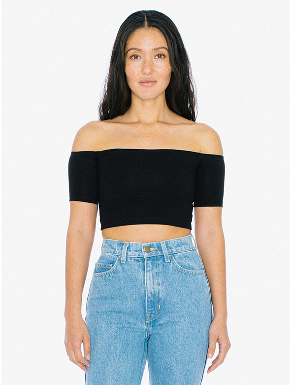 New-American-Apparel-Womens-Cotton-Spandex-Off-Shoulder-Crop-Top-Black-Xs-S-18 thumbnail 3