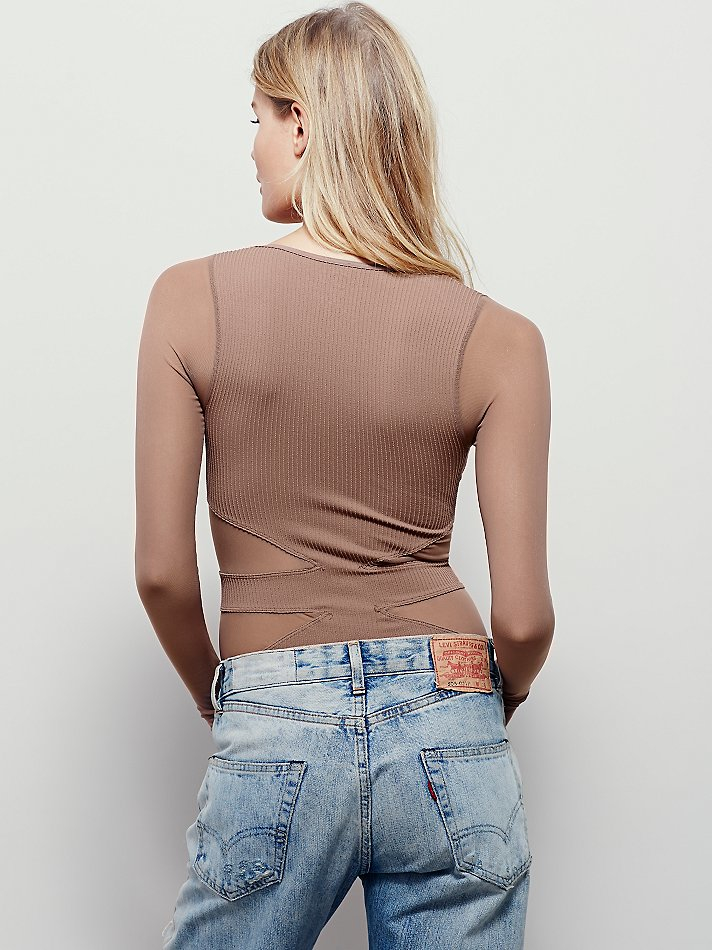 New-Free-People-Seamless-Cut-Out-Long-Sleeve-V-Neck-Sheer-Mesh-Top-Womens-30 thumbnail 8