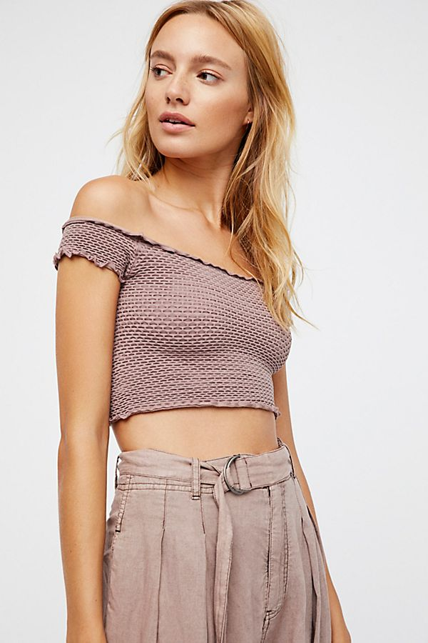 New Free People Intimately Smocked Crop Top T-Shirt Off The Shoulder Soft $38