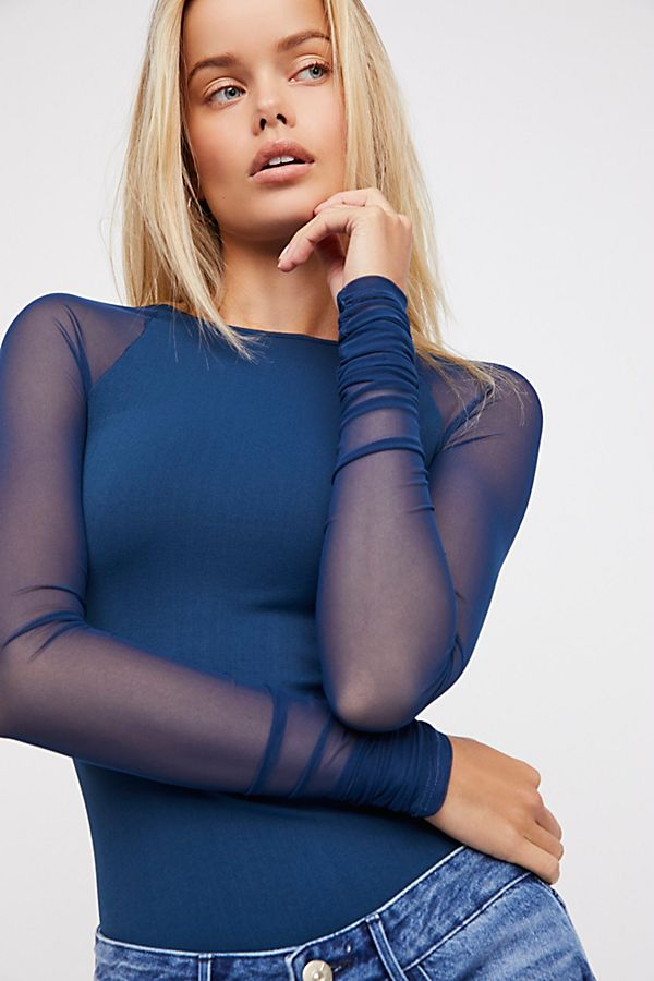 NEW Free People Intimately Scrunch Sleeve Top Shirt in Blue  XS//S /& M//L $62.88