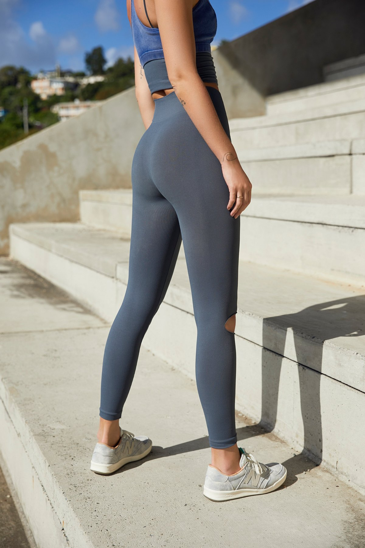 New Free People Fp Movement Activewear Slit Knee Seamless Yoga Leggings $78
