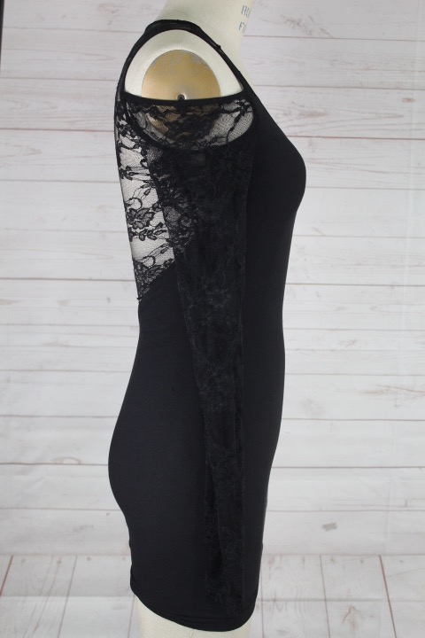 New-Bebe-Womens-Lace-Mesh-Dress-Long-Sleeve-Cold-Shoulder-Bodycon-Black-S-L-68 thumbnail 3