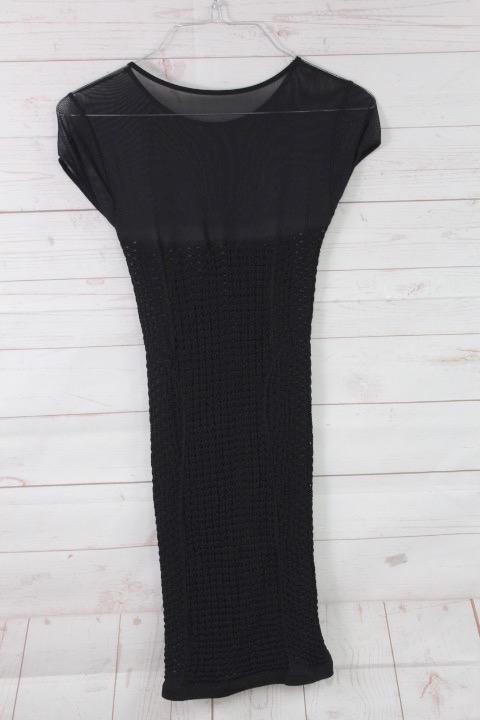 New-Bebe-Womens-Crochet-Sheer-Cap-Sleeve-Bodycon-Mini-Dress-Black-S-59 thumbnail 3