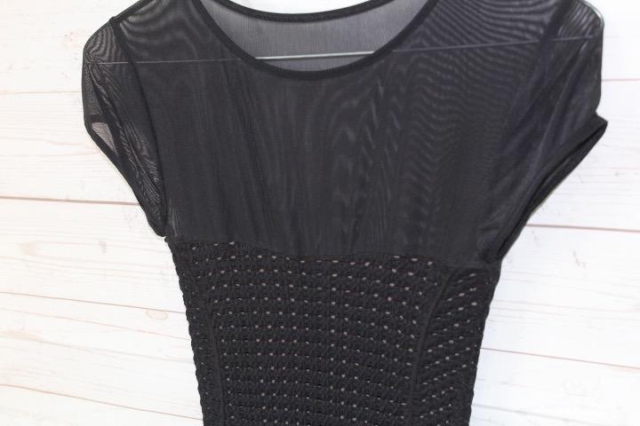 New-Bebe-Womens-Crochet-Sheer-Cap-Sleeve-Bodycon-Mini-Dress-Black-S-59 thumbnail 4