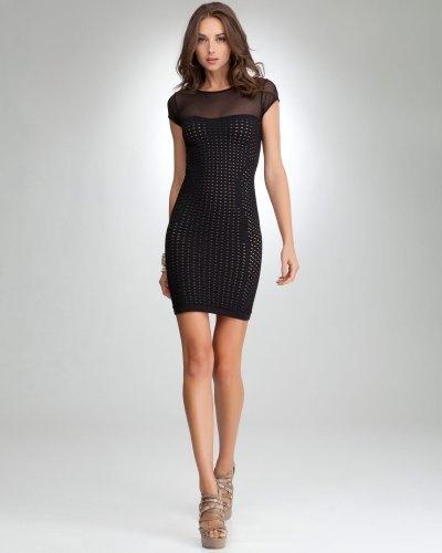New-Bebe-Womens-Crochet-Sheer-Cap-Sleeve-Bodycon-Mini-Dress-Black-S-59 thumbnail 5