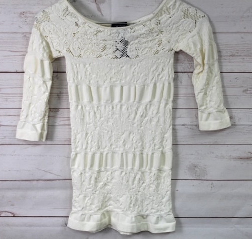 New-Bebe-Womens-3-4-Sleeve-Striped-Lace-Scoop-Neck-Seamless-Top-Ivory-Xs-L-48 thumbnail 2