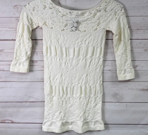New-Bebe-Womens-3-4-Sleeve-Striped-Lace-Scoop-Neck-Seamless-Top-Ivory-Xs-L-48 thumbnail 3