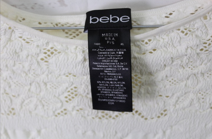 New-Bebe-Womens-3-4-Sleeve-Striped-Lace-Scoop-Neck-Seamless-Top-Ivory-Xs-L-48 thumbnail 5