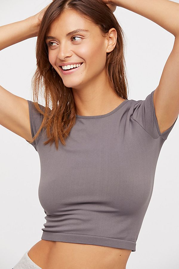 Free-People-Intimate-Cap-Sleeve-Seamless-Cami-Simple-Solid-Crop-Top-Colors-Xs-L thumbnail 4