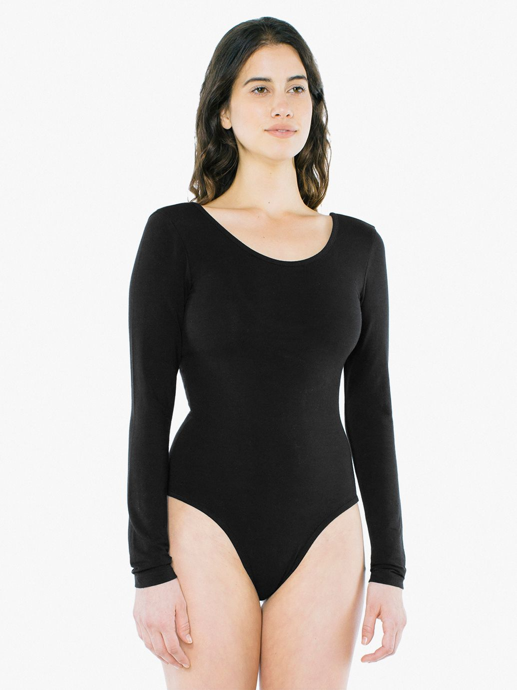 d98df4739025 New American Apparel Cotton Spandex Long Sleeve Scoop Back Bodysuit ...