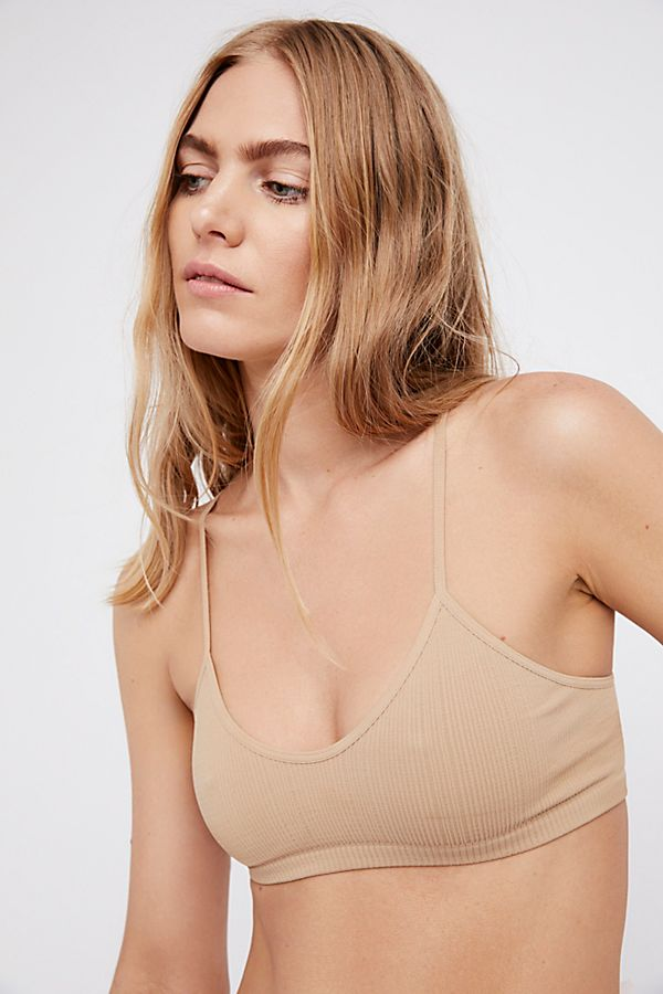 New Free People Womens Seamless Baby Racerback Bra Ribbed Heather Bralette $20