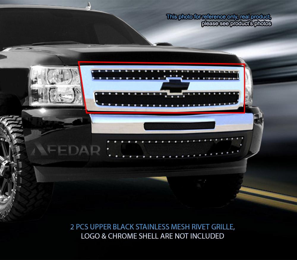 Silverado black chevy emblem for silverado Fits 07-13 Chevy Silverado 1500 Black Stainless Mesh Rivet Grille ...
