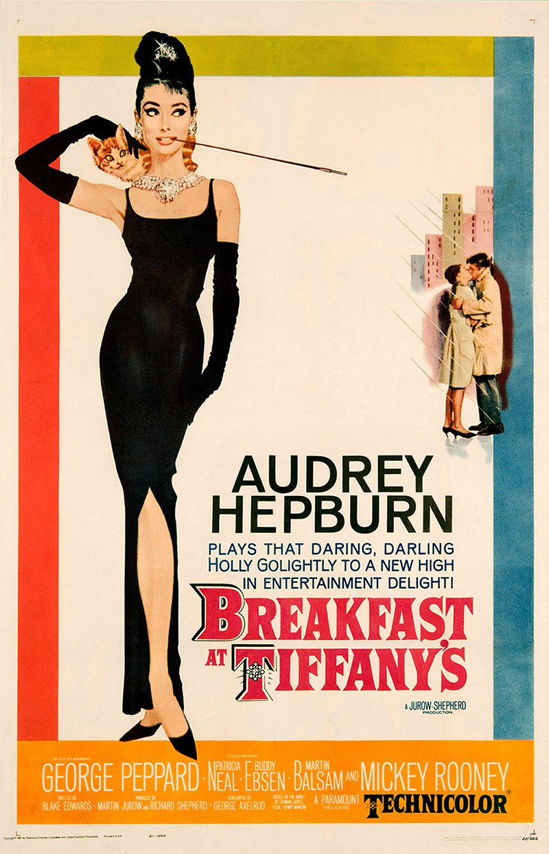 breakfast at tiffany 39 s 1961 original movie poster audrey hepburn comedy. Black Bedroom Furniture Sets. Home Design Ideas