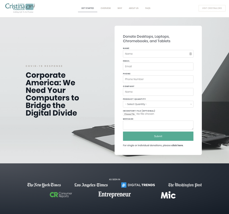 screenshot of donatetechnology.org landing page