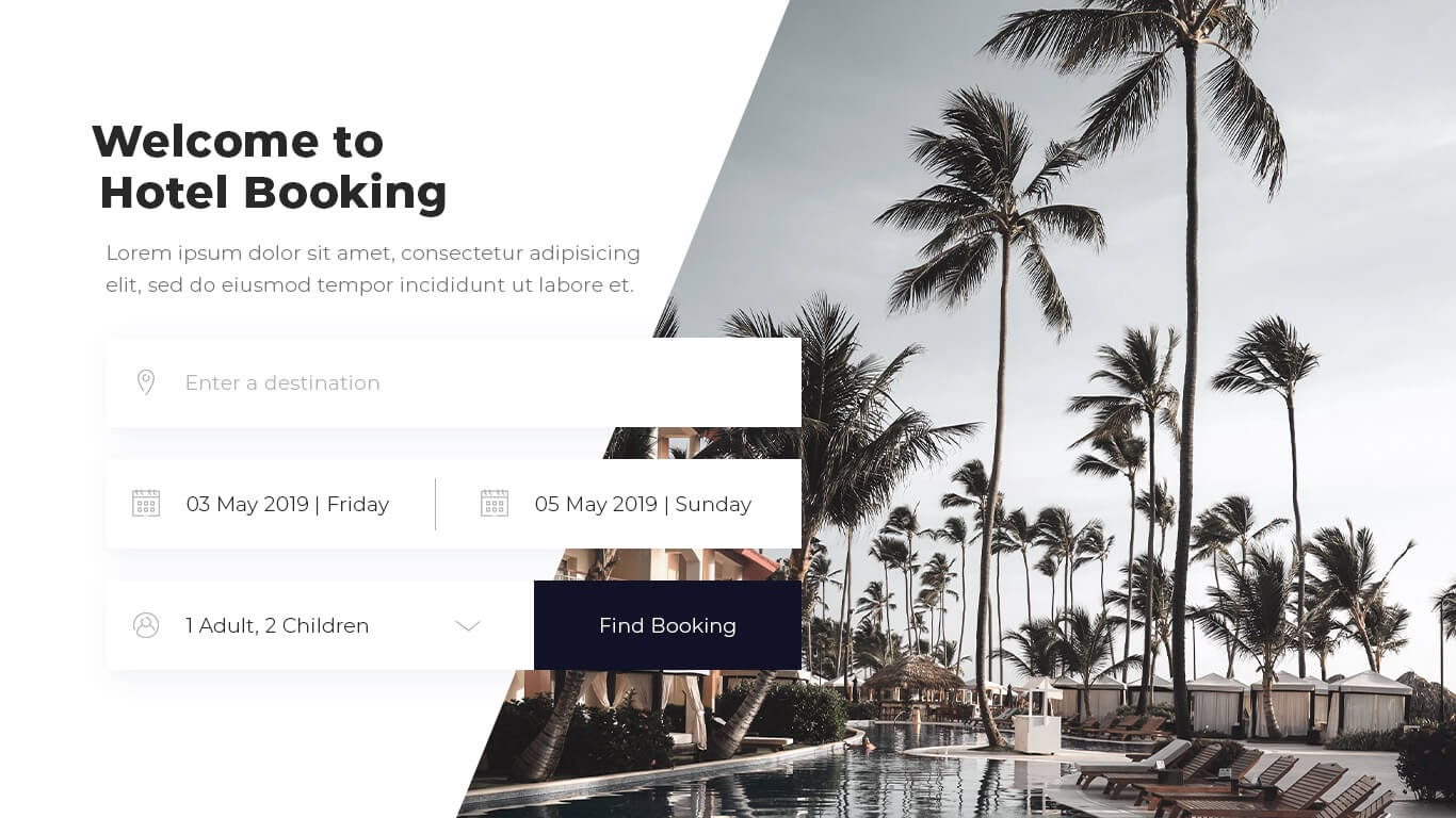 Delesign website template for a hotel