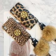 Plush Leopard Print Phone Case With Fur Ball And Strings For Iphone