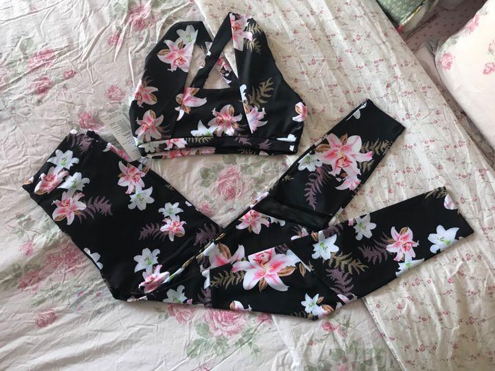 @Omneya Karim- Leisure Breathable Floral Printed Cami Top & Sports Pants Set