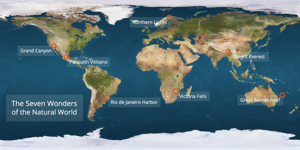 Map of the Seven Natural Wonders of the World