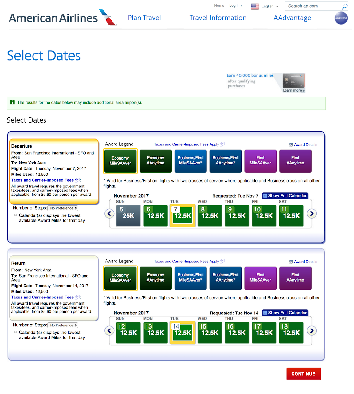 American Airlines Business Extra Award Availability Search