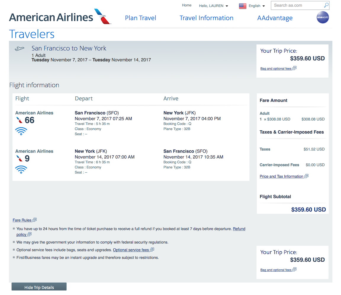 American Airlines Base Fare and Tax Breakdown