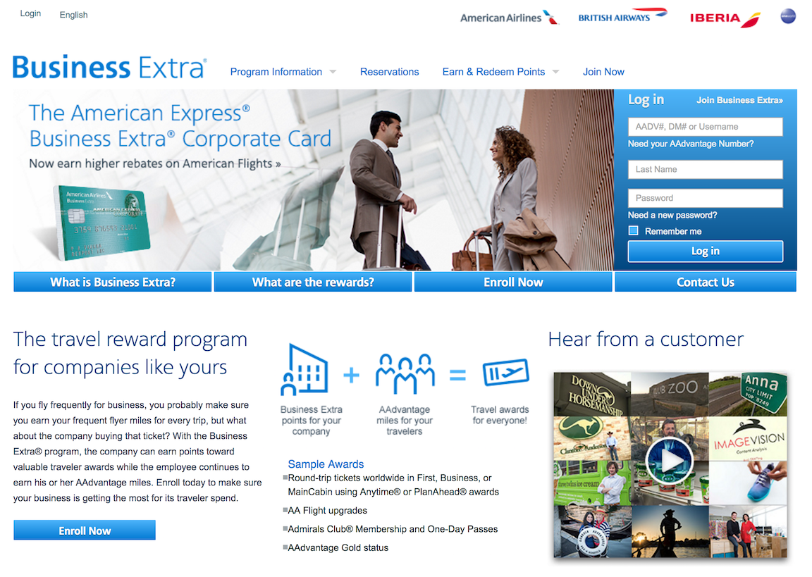 American Airlines Business Extra Homepage