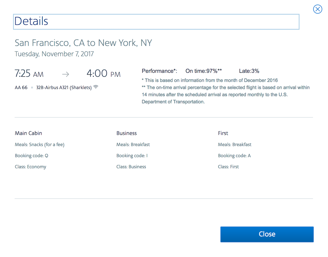 American Airlines Booking Code Details