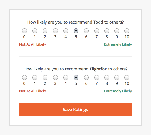 Flightfox Customer Rating Page