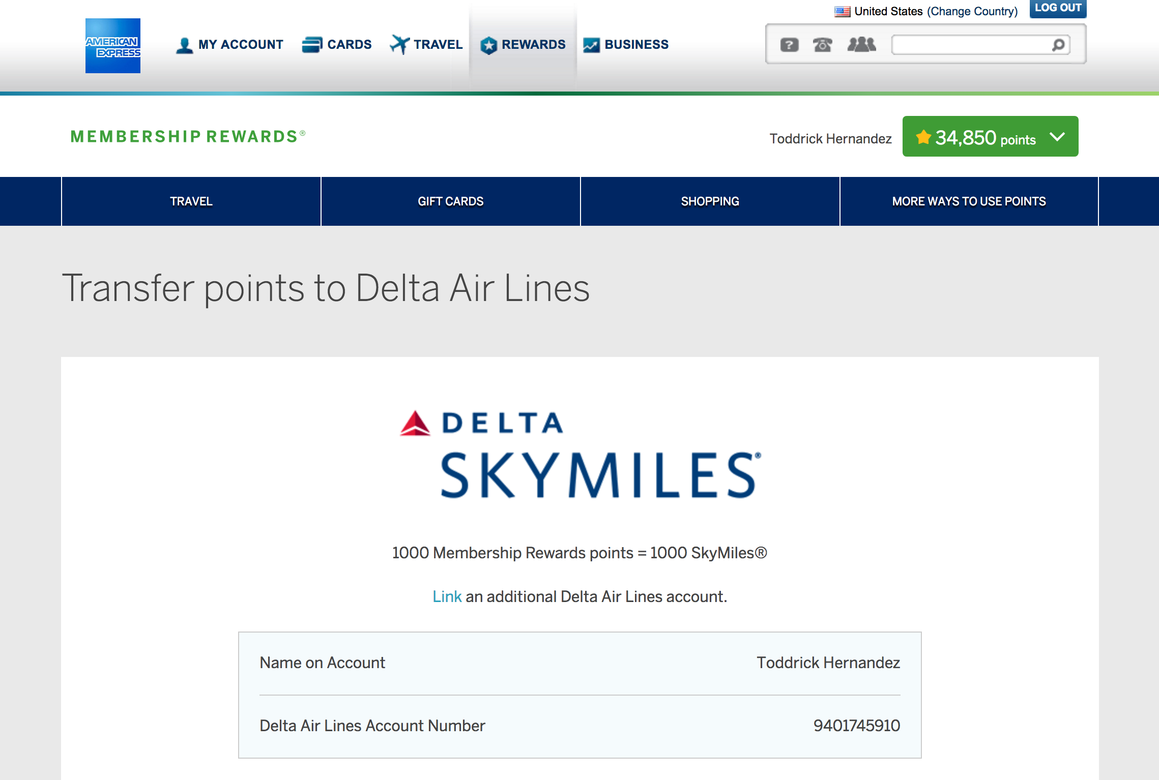 Transfer credit card points to airline miles