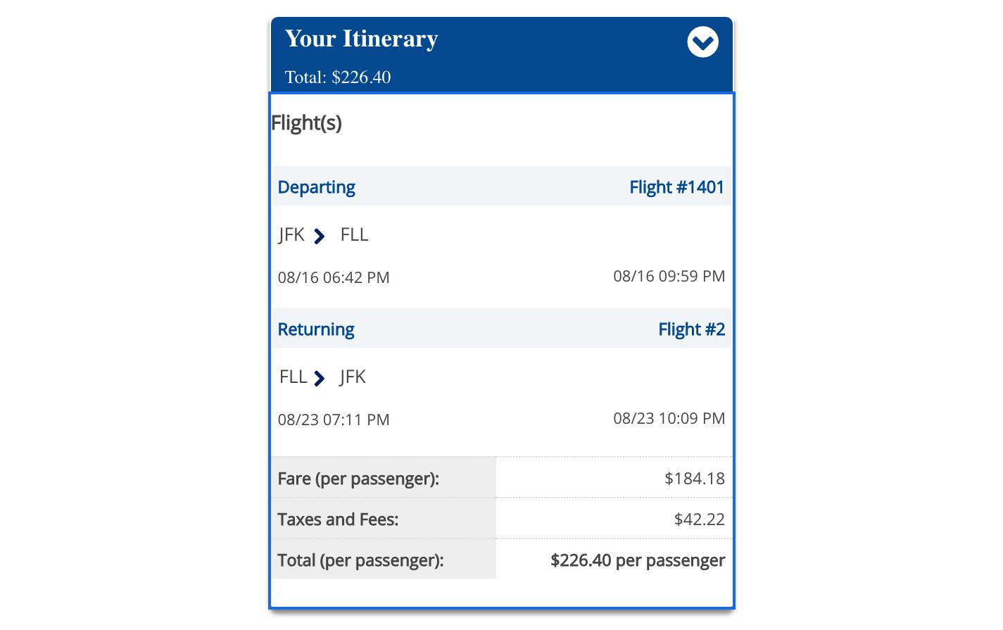 JetBlue JFK-FLL Round-trip Flights